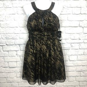Nine West black gold cocktail dress NWT